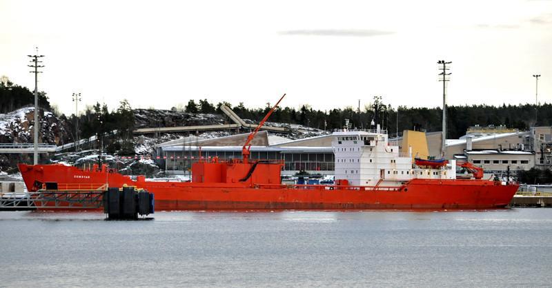 CEMSTAR. Rakennettu 1977, Tanska. Sementinkuljetusalus. 113x16m. Koneteho 3056 KW. Nopeus 11 solmua. SMT- Shipping. Lippu: Mashallsaaret