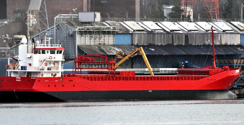 EMMA. Rakennettu 2007, Hollanti. 90x13m. Syväys 5,3m. Jääluokka 1A. Wagenborg Shipping. Lippu: Hollanti